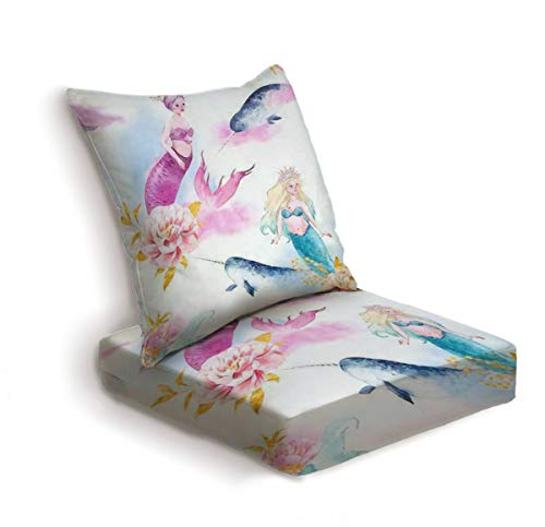 2-Piece Outdoor Deep Seat Cushion Set Watercolor pattern with pink and blue mermaids fish narwhal watercolor Back Seat Lounge Chair Conversation Cushion for Patio Furniture Replacement Seating Cushion