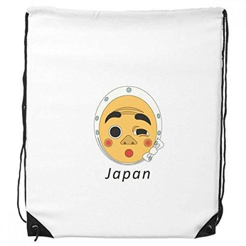 Traditionele Japanse Grappige Man Masker Trekkoord Rugzak Winkelen Handtas Gift Sport Tassen