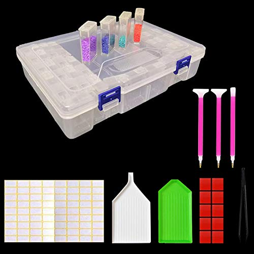 Sunshine smile 42 Diamond Painting Box,5D Diamant Stickerei Sortierbox,Sortimentskasten,sortier Boxen,Werkzeugcontainer,Plastik aufbewahrungsbox mit Deckel,Schmuckschatulle!