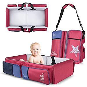 Koalaty 3-in-1 Red Universal Infant Travel Bag, Portable Bassinet Crib, Changing Station, and Diaper Bag for Newborns or Baby. Great Baby Shower Gift for New mom and dad.