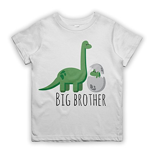 RiotBunny Big Brother Dinosaur Dino Newborn Sibling per Bambino T-Shirt Maglietta Bianca Small