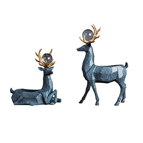 Dekoration Elch Dekorationen Schlüssel Lagerung Ornamente Türveranda Aufbewahrungsbox Kreative Einrichtungsgegenstände Wohnzimmer Dekoration ( Color : BLUE , Size : 22*13*24CM+22*9*34CM )