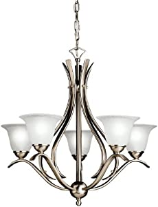 Kichler 2020NI, Dover Glass 1 Tier Chandelier Lighting, 5 Light, 300 Total Watts, Brushed Nickel