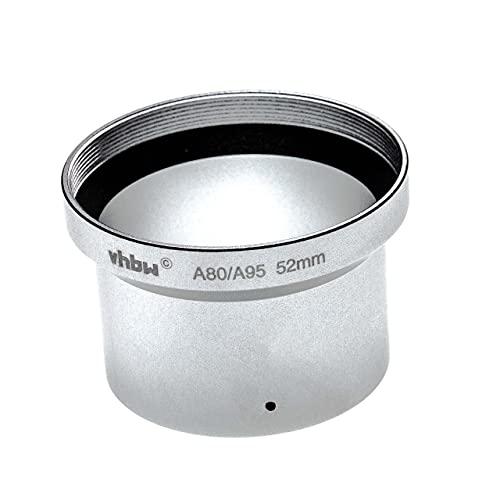 vhbw Adaptador de Filtro 52mm Compatible con Canon Powershot A80, A95 cámara, cámara Digital, Objetivos - Plata Mate en Forma de Tubo