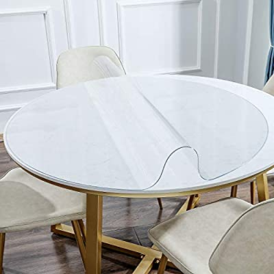 KSHG Upgrade Odorless Table Cover Clear Plastic Desk Protector 1.5mm Thickness Round Waterproof Tablecloth Desk Pad for End Table, Night Stand and Dresser Tables 60 Inch Multi-Size Optional