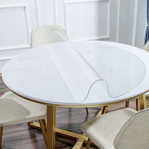 KSHG Upgrade Odorless Table Cover Clear Plastic Desk Protector Round 30 Inch 1.5mm Thickness Waterproof Tablecloth Desk Pad for End Table, Night Stand and Dresser Tables Multi-Size Optional