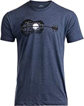Acoustic Guitar Moonrise   Guitarist Musician Music Player for Man Woman T-Shirt-(Adult,M) Vintage Navy