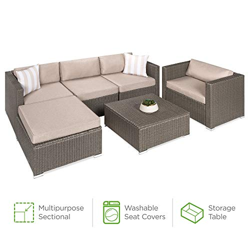 Best Choice Products 6-Piece Outdoor Wicker Patio Sectional Conversation Set w/Storage Table, 2 Pillows, Furniture Cover