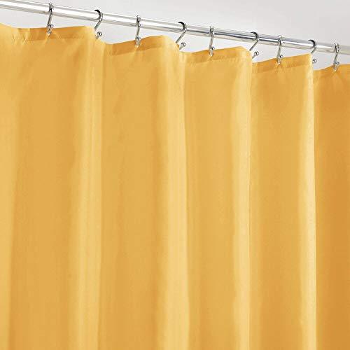 mDesign Duschvorhang Anti-Schimmel – wasserabweisender Vorhang für Dusche & Badewanne – moderner Badewannenvorhang mit zwölf verstärkten Löchern & Gewichten im Saum – senffarben