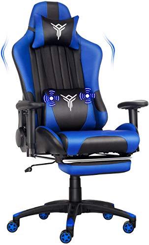 Fullwatt Massage Racing Gaming Stuhl Bürostuhl Ergonomisch Sportsitz höhenverstellbarer Computerstuhl Chefsessel Schreibtischstuhl mit Kopfstützen, verstellbaren Armlehnen und Fußstützen(blau)