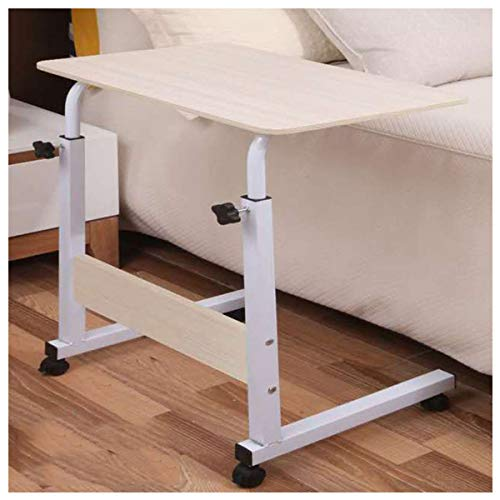 LYLSXY Overbed Table, Home Rolling Mobile Computer Desk Table Side Table For Bed Sofa Hospital Nursing Reading Eating Entertainment (Color : Wood grain, Size : 60 * 40CM)