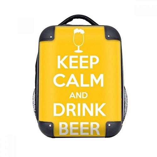 DIYthinker Zitat Behalten Sie Ruhe und trinken Bier Gelb Hard Case Schulter Kind-Rucksack-Geschenk 15