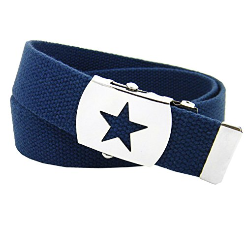 Boys School Uniform Silver Star Slider Military Belt Buckle with Canvas Web Belt Small Navy Blue