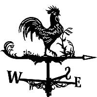 農家の風見鶏の屋根の台紙、庭の装飾のための庭の動物の彫刻の彫像屋根の風向インジケーターキット屋外-オンドリ