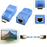 2PCS HDMI Extender Adapter, JahyShow HDMI to RJ45 Network HDMI Repeater, Ethernet HDMI Cat5 CAT6 Extender Included Transmitter & Receiver 1080P Converter for HDTV HD TV DVD (Blue)