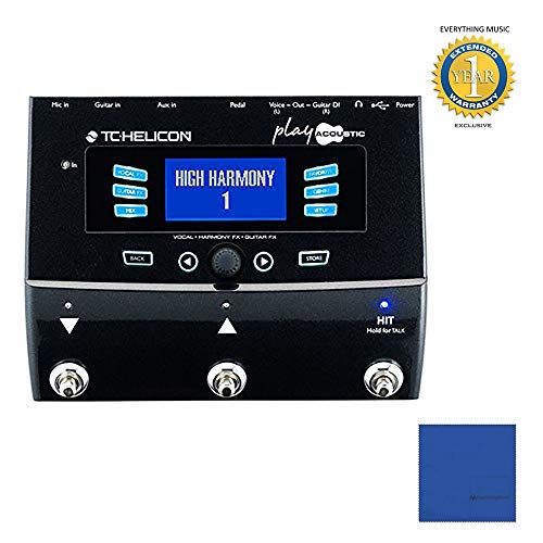 TC Helicon Play Acoustic Vocal Effects Processor with Microfiber and 1 Year Everything Music Extended Warranty