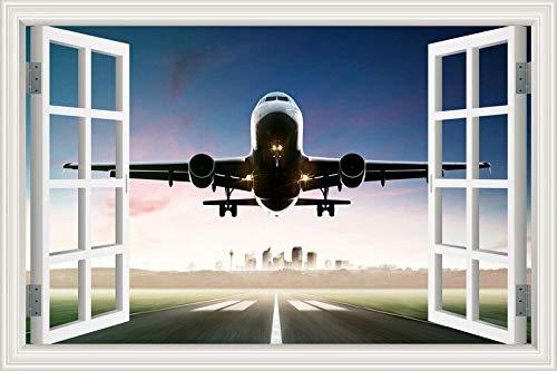 3D Fenster Wandaufkleber PVC Aufkleber Poster Wandbild Stadt Himmel Wolken Flug Start Landung Fliegendes Flugzeug Flugzeug Verkehrsflugzeug Landschaft Wohnkultur Schlafzimmer