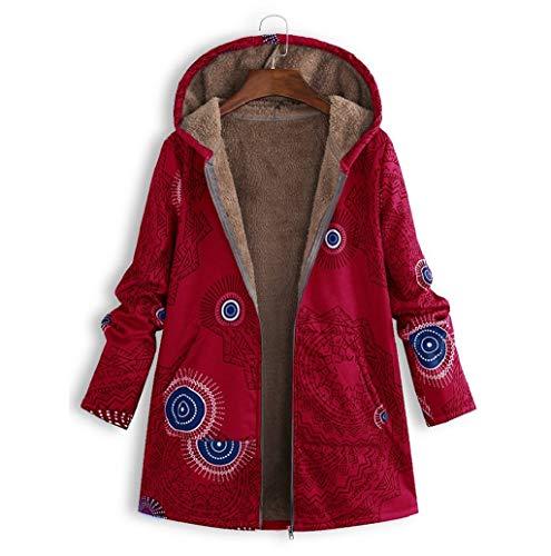 LONUPAZZ Manteau à Capuche Femmes Hiver Chaud Coton Lin Pochettes à Capuchon à Imprimé Floral Vintage Manteaux Oversize S-5XL