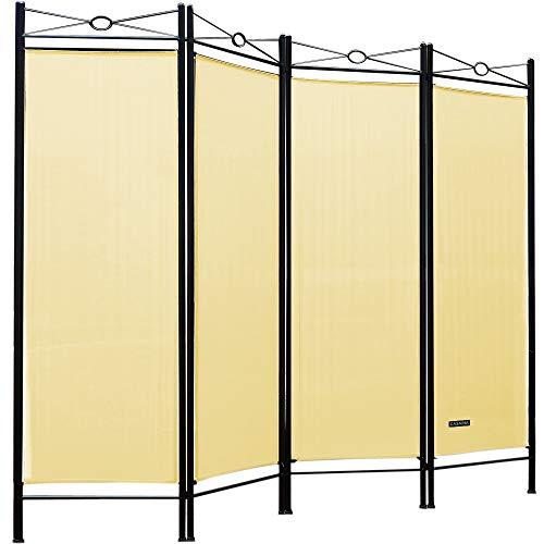 Deuba Paravent Lucca 180x163cm | 4 Trennwände flexibel verstellbar | Raumteiler Sichtschutz | platzsparend & multifunktional | Creme