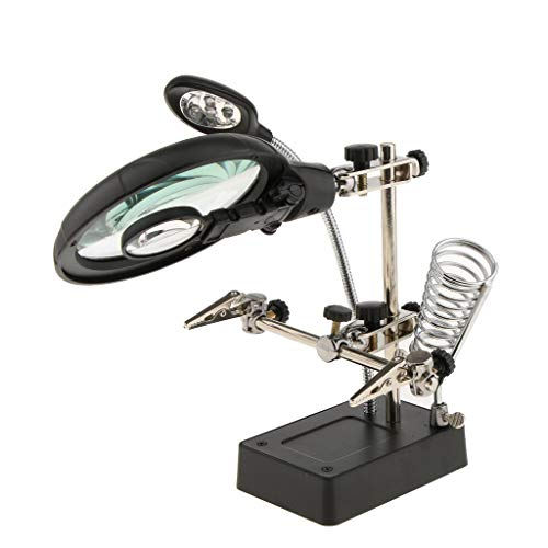 uptodateproducts LED Light Magnifier Glass Table Desk Lamp on Stand Clip Loupe (Black, 2.5X 7.5X 10)