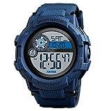 Festnight 1387 Reloj para Hombre Reloj analógico Digital Electrónico Moda Casual Deportes al Aire Libre Reloj Pulsera Masculino 3 Pantalla Tiempo Cronómetro Alarma 5ATM Luminoso Impermeable Correa