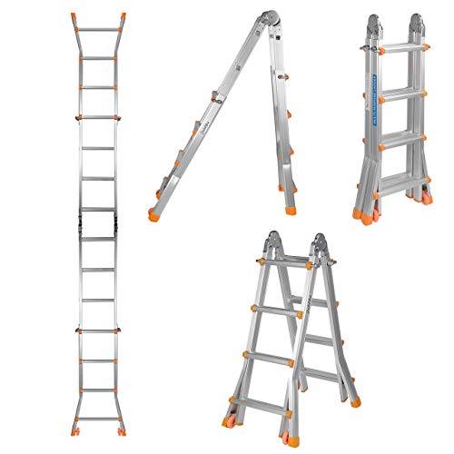 GreenWise 13Ft 4X4 Steps Aluminum Folding Scaffold Ladder For Window Cleaning, Roof Repair. Made With Stable A Frame Construction. MAX Weight 330 LBS