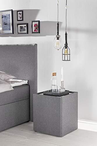 Furniture For Friends Möbelfreude® nachtkastje Nele | nachtkastje met glasplaat en twee vakken | ideale nachtkastje voor boxspringbedden en gestoffeerde bedden modern 2 Fächer mit Glasplatte Stof lichtgrijs