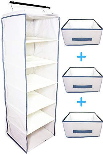 häbe Habe Premium Hanging Closet Organizer  Strongest Heavy Duty Storage Shelves Organizers with PerfectFit Foldable Drawers  Stop BackBreaking Cleanup Free Up Mental Space Declutter Your Closet