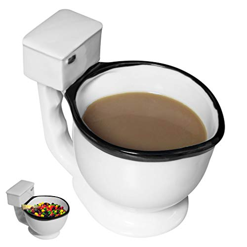 Caneca de café para vaso sanitário da Evelots/Cup-Ceramic-Tea/Beverage/Candies-255 ml-Hilarious, Branco, 1 Unit, 1