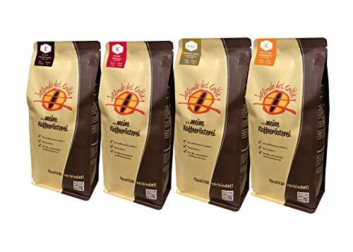 Probierset Weltreise 4 Packungen a 250 gr. Kaffee der Rösterei Mondo del Caffè (eine der besten Kaffeeröstereien Deutschlands, Feinschmecker 2018) im Geschenkkarton mit Begleitheft