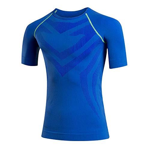 Cxypeng Funktionsshirt Slim Fit,Schnelltrocknende Sport-Fitness-Kompressionskleidung für Herren, Stretch-Strumpfhose-Blue_M,Bekleidung für Bodybuilding Training