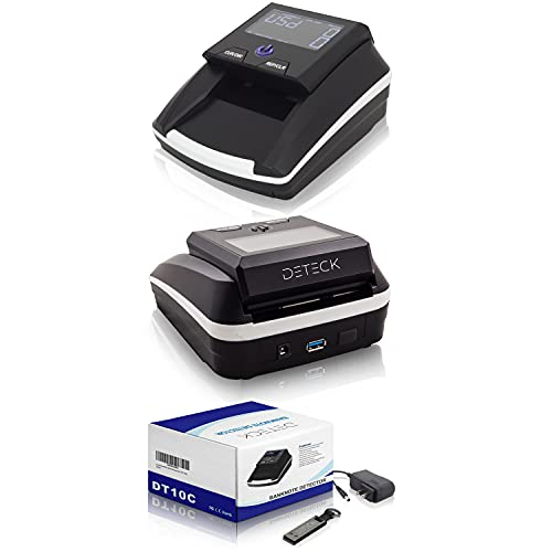 DETECK Portable Counterfeit Bill Detector Machine, Automatic 4-Way Direction USD & Euro Value Counting, Swift Counterfeit Money Detector UV/IR/MG for Small Businesses (Battery & Magnetic Block Incl.)