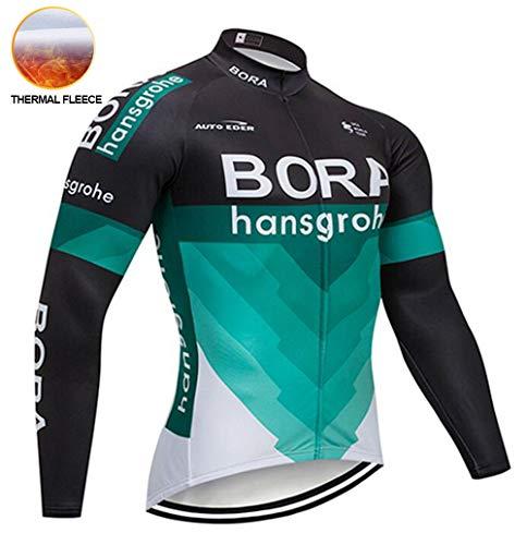 TIDH Radtrikot Herren Warm Set, Radtrikot Langarm Fahrradbekleidung Bike Shirts+Lang Trägerhose Fahrradhose mit Schwamm 3D Sitzpolster (XL, RDB2)