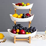 XHHXPY 3 Tier Bamboo Bread Vegetable Fruit Basket Rack Ceramic Countertop Storage Basket Display Tray for Fruit Vegetables Snacks Bread,White