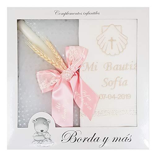 Pack Bautizo PERSONALIZADO incluye paño Bautismal y Vela de cera blanca. Modelo París (Rosa)