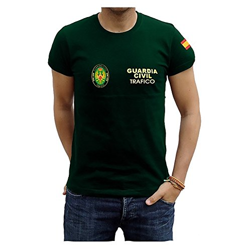 Piel Cabrera Camiseta Guardia Civil Trafico (XL, Verde)