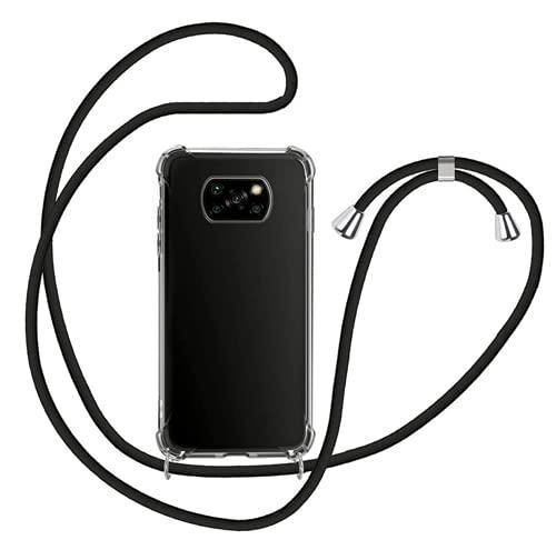 Genlision Compatible con XIAOMI Poco X3 NFC/Poco X3 Pro Funda.Carcasa Case con Ajustable Cordón.Prueba de choques Carcasa Transparente TPU-Negro