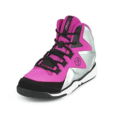 Zumba Women's Energy Boom High Top Athletic Shoes Dance Gym Workout Sneakers Training, Pink/Silver, 10