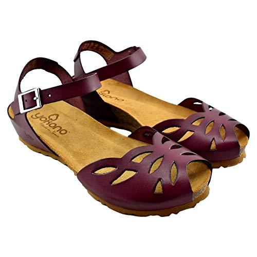 YOKONO - Sandalia DE Piel con Puntera Calada Y Cierre DE Hebilla Cuero Mujer Color: Burdeos Talla: 38