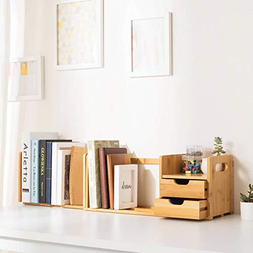 Ollieroo Natural bambú organizador de escritorio con extensible almacenamiento para oficina y hogar