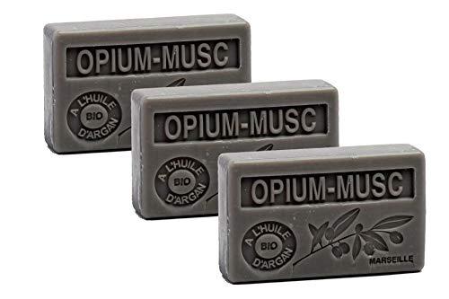 Maison du Savon de Marseille - 3er-Set Arganöl-Seifen - Opium-Moschus (Opium-Musc) - 3 x 100 g