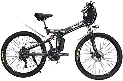 RDJM Bciclette Elettriche Bicicletta elettrica Pieghevole Ebikes Ebike for Adulti, 26inch elettrica Mountain Bike City E-Bike, Biciclette Leggero for Adolescenti Donne degli Uomini (Color : Black)