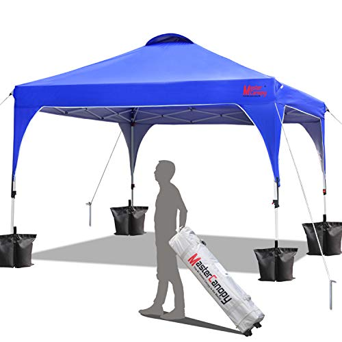 MASTERCANOPY Patio Pop Up Instant shelter 10x10 Beach Canopy Better Air Circulation Canopy with Wheeled Backpack Carry Bag (Blue)