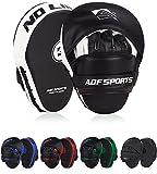 AQF Boxeo Almohadilla De Entrenamiento Cuero Sintético Mitones Gancho Y Jab MMA Kick Boxing Muay Thai Entrenamiento (Blanco)