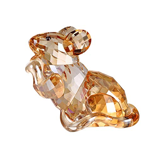 YHshop Feng Shui Decoración del Hogar Adornos de Rata de Cristal Doce Estatua de Rata Zodiaco, decoración de Escritorio for el hogar Creativo/Regalo de cumpleaños de Navidad Fortuna estatuilla