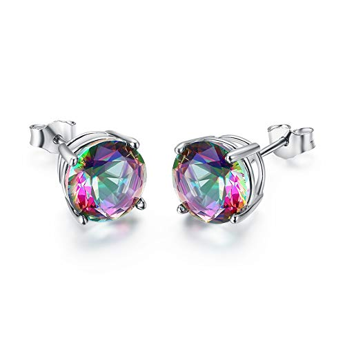 Bamos Sterling Silver Rainbow Quartz Stud Earrings Tourmaline Earrings Colorful Engagement Stud Earring for Women Teen Girls