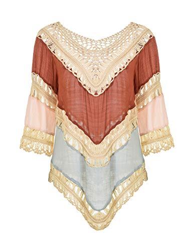 Ferand ausgehöhltes gehäkeltes Damen Poncho Bluse Tunika Top mit V-Ausschnitt, Einheitsgröße, Orange, Einheitsgröße, Orange