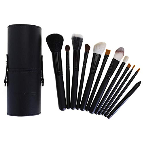 MPKHNM 12-barrel brush bucket brush wooden handle beauty makeup tool tube drum makeup brush set black