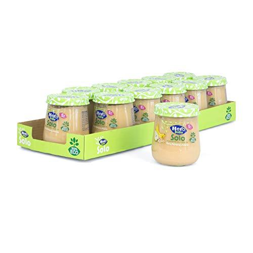 Hero Solo - Tarrito Eco de Pera, Plátano y Avena para Bebés a Partir de los 6 Meses - Pack de 12 x 120 g