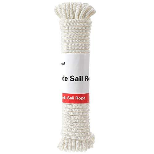 FLY HAWK - Cuerda de toldo para exteriores de poliéster trenzado con diamantes, resistente a los rayos UV y excelente absorción de golpes, apto para jardín, patio, barco
